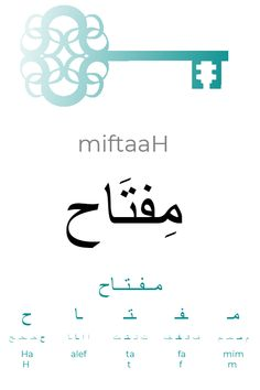 """Learning Arabic MSA (Fabienne) The Arabic word for """"key"""" is pronounced [miftaaH] and is made of he letters mim, fa, ta, alef and Ha. Write Arabic, Learn Arabic Alphabet, Arabic Phrases, Arabic Words, Learn Arabic Online, Arabic Lessons, English Language Learning, Arabic Language, Learning Arabic"""