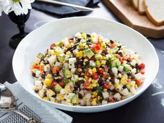 "Colorful Corn Salad (Brady's Birthday Bash: - Tiffani Thiessen, ""Dinner at Tiffani's"" on the Cooking Channel. Picnic Side Dishes, Side Dishes For Bbq, Summer Side Dishes, Side Dish Recipes, Corn Salad Recipes, Corn Salads, Veggie Recipes, Best Dinner Party Recipes, Cilantro"