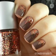 Coffe Nail Design with Glitters