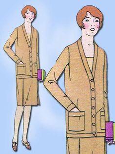 1920s Vintage Butterick Sewing Pattern 1293 Uncut Girls Flapper Dress Sz 12 29B