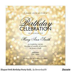 Elegant 80th Birthday Party Gold Glitter Lights 13 Cm X 13 Cm Square Invitation… More