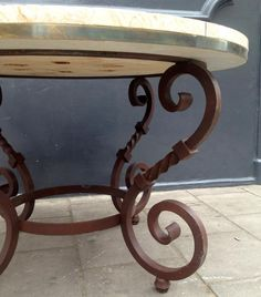 Decorative Wrought Iron Table Legs   VINTAGE LARGE IRON MARBLE TOPPED TABLE WITH BRASS INLAY