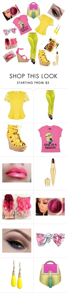 """""""Pink and Yellow Minion Twins"""" by gemini-galibear on Polyvore featuring Karen Millen, G by Guess, ShoeDazzle, Christian Louboutin, Bling Jewelry, INC International Concepts and The Volon"""