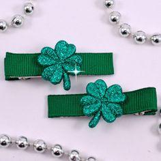 Sparkle Clover Clippies - Pluff Bows Boutique Bows, Bow Ties, Hair Bows, Sparkle, Accessories, Hairbows, Bowties, Hair Ornaments, Hair Bow