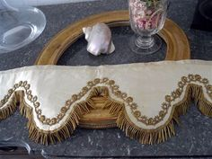 ANTIQUE FRENCH 19 TH-CENTURY SILK  ALTAR FRONTAL GOLD METALLIC TRIM EMBROIDERY