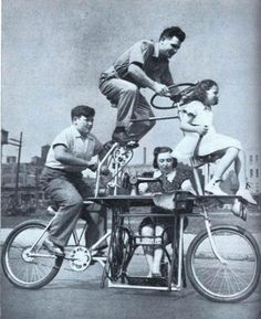 The family bicycle equipped with a sewing machine for mom