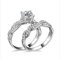Eiffel Queen Temperament Elegant Rings A Set Of Two Rings  AAA Zircon Ornament White Fill Fine Jewelry Fashion Silver