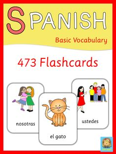 Huge set of flashcards for Spanish lessons.
