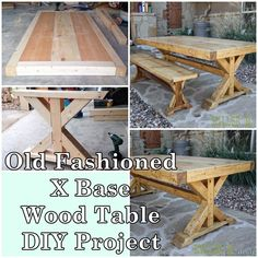 "Old Fashioned X Base Wood Table DIY Project Homesteading - The Homestead Survival .Com ""Please Share This Pin"" Old Wood Table, Barn Table, Wood Tables, Reclaimed Wood Picture Frames, Reclaimed Wood Projects, Woodworking Projects Diy, Woodworking Wood, Diy Projects, Diy Door"