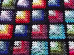 Crochet Granny Squares Blanket Karen Wiederhold: Mitred Granny Square Blanket - I saw this done in shaded white to greens like Thomas' afghan, and it is gorgeous! Crochet Afghans, Crochet Motifs, Crochet Quilt, Crochet Blocks, Afghan Crochet Patterns, Crochet Gratis, Free Crochet, Knit Crochet, Simple Crochet