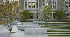 STEPHEN STIMSON ASSOCIATES | HARVARD ROCKEFELLER HALL. White Granite Seating Arrangement in a formal plaza.
