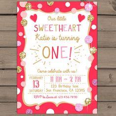 Valentines Birthday Invitation Birthday Party by Anietillustration