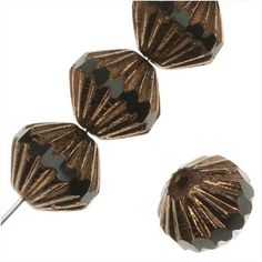 CZECH GLASS FLUTED CATHEDRAL BEADS 9MM JET BLACK/BRONZE