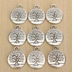 Vintage Antique Silver Tree of Life Necklace Pendant Charm DIY Tree Of Life Necklace, Tree Of Life Pendant, Silver Charms, Silver Earrings, Silver Ring, Vintage Silver, Antique Silver, Silver Engagement Rings, Ring Engagement