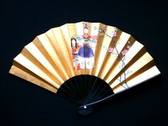 Gold Hand Fan Ogi Sensu Hand Painted Small by VintageFromJapan, $18.00