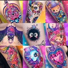 Color full tats Girly Tattoos, Anime Tattoos, Badass Tattoos, Pretty Tattoos, Beautiful Tattoos, Body Art Tattoos, Sleeve Tattoos, Kawaii Tattoos, Bright Tattoos