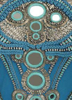 Maharajah Mirror Embroidered Mini Dress