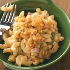 "Ham 'n' Noodle Hot Dish Recipe -Frozen green peas add lovely color to this comforting meal-in-one from Renee Schwebach. ""The easy, cheesy dish is a great way to use up leftover ham,"" reports the Dumont, Minnesota cook. —Renee Schwebach, Dumont, Minnesota"