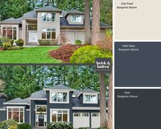 Our 2019 home exterior color palettes to love: It has proved to be a year of exciting color palettes which darker shades, blues, and varying whites. Navy House Exterior, Exterior Paint Colors For House, Modern Farmhouse Exterior, Paint Colors For Home, Exterior Paint Schemes, Exterior Siding, Exterior Color Palette, Exterior Colors, Exterior Design