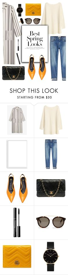 """""""Stripes + Pop of Color"""" by glamorous09 ❤ liked on Polyvore featuring Monki, H&M, Bomedo, Frame, Chanel, STELLA McCARTNEY, Gucci, CLUSE and Jaeger"""