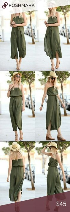Off Shoulder Flutter Jumpsuit Comfy off shoulder woven jumpsuit. In solid Olive.  Also available in Navy. See separate listing. Pants Jumpsuits & Rompers