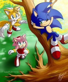 """Sonic the Hedgehog, Amy Rose, and Miles """"Tails"""" Prower... I LOVE this artwork! Totally awesome!"""
