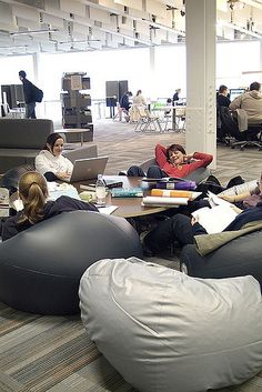 Beanbags provide a relaxed setting for study.  Staff have flexible use of the space by temporarily removing the beanbags during the run up to exams to quieten the area.
