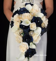 Navy Blue and Gold Wedding Flower Bouquet.  Cascading Brides Bouquet.  Complete wedding packages starting as low as $100
