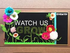 "I love this!! A School Bulletin Board with the theme""Watch us Grow"" that ""grows"" throughout the year!! SO fun!"