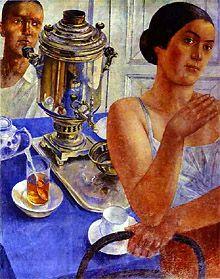 Kuzma Petrov-Vodkin Samovar 1926 (The Tretyakov Gallery, Moscow, Russia) Russian Painting, Russian Art, Grafic Art, Ukraine, Victor Vasarely, Soviet Art, Museum, Tea Art, Art Database