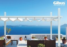 Gibus Group, leader in the production of awnings and pergolas for sun protection and energy saving Pavilion, Save Energy, Rooftop, Valance Curtains, Marie, Country, Outdoor Decor, Inspiration, Home Decor