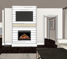 Step by step tutorial on how to build an inexpensive shiplap fireplace using an electric insert Transform your boring TV wall into a statement piece DIY Faux Fireplace DIY Fireplace Mantel DIY Fireplace With TV Above Diy Fireplace Mantel, Fireplace Tv Wall, Build A Fireplace, Fireplace Built Ins, Shiplap Fireplace, Faux Shiplap, Fireplace Remodel, Living Room With Fireplace, Fireplace Design