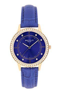 68d519b00b25 Mike Ellis New York Mujer-reloj Blue Line analógico de cuarzo cuero SL5612A1