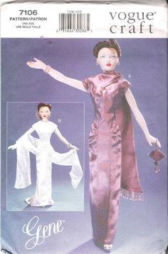 VOGUE GENE FASHION DOLL VINTAGE DRESSES 7106 SEWING PATTERN 15.5in 39.5cm UNCUT