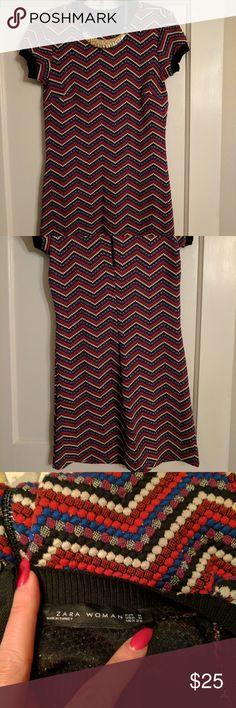 NWOT Zara Chevron Print Dress Flirty mini dress.  Great for a girls night out. Zara Dresses Mini