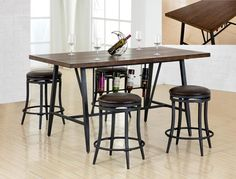 """David  5 Piece Counter Height  Table and 4 Bar Stools   $     Table  36"""" x 69"""" x 36"""" H     Swivel Bar Stools  24"""" H   C/M 2809"""