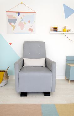 Olli Ella's nursing chair, the Go-Go Glider in Dove sits well in any colour palette interior.
