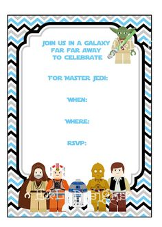 Lego Starwars Birthday Party Invitation 5x7 Star By