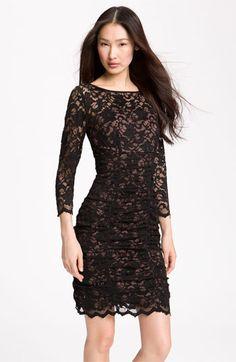 Eliza J Ruched Lace Sheath Dress