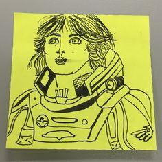 Elizabeth Shaw. The baddest bitch in Prometheus.  #prometheus #elizabethshaw #alien #noomirapace #postit #sketch #xenomorph #space #badass #badbitch #grimcartoons