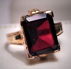Antique Garnet Ring Vintage Victorian Art Deco Wedding