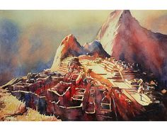 Fine art watercolor painting of view from Hut of the Caretaker of the ruined Incan city of Machu Picchu- Sacred Valley, Peru.