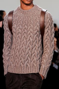 Linen, Cotton, Cashmere Cabled Sweater, by Michael Kors. Men's Fall Winter Fashion.