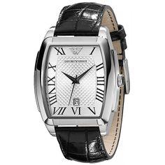 Montre ARMANI homme avec cadran rectangulaire blanc design avec dateur, bracelet cuir noir.
