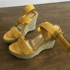 Yellow sandals heels Bamboo brand mustard yellow macrame braided straps. Jute wedge heels. Some minor dirt on straps. Gold hardware. Great condition! Worn 3x Bamboo Shoes Wedges