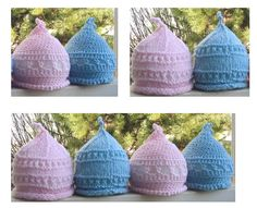 Free Crochet Pigtail Top-Knot Baby Hats Pattern. Also has Knit instructions.