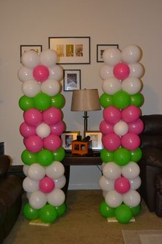 Flower Balloon Columns - Can be made in colors to match your party theme. Balloon Pillars, Balloon Tower, Balloon Arch, Ballon Arrangement, Deco Ballon, Balloons Galore, How To Make Balloon, Balloon Crafts, Strawberry Shortcake Party