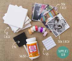 How to Make DIY Photo Coasters How to make photo coasters. going to do this for Leighton and I :) make them with pictures of us, or families, and friends! Cute Crafts, Crafts To Do, Diy Crafts, Resin Crafts, Ceramic Tile Crafts, How To Make Photo, How To Make Diy, Photo Coasters, Diy Coasters