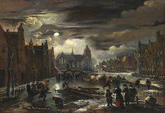 Aert van der Neer, FROZEN GRACHT IN THE MOONLIGHT, Auction 947 Old Masters, Lot 1065