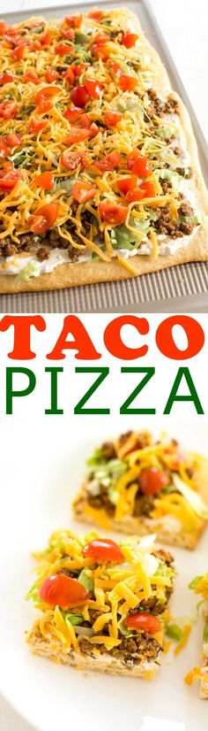 Pizza Appetizer with a crescent roll crust. Easy cream cheese sauce is so zesty!Taco Pizza Appetizer with a crescent roll crust. Easy cream cheese sauce is so zesty! Pizza Taco, Taco Pizza Recipes, Pepperoni Recipes, Jalapeno Recipes, Mexican Food Recipes, Healthy Recipes, Cooking Recipes, Taco Seasoning Recipes, Taco Pizza Rolls